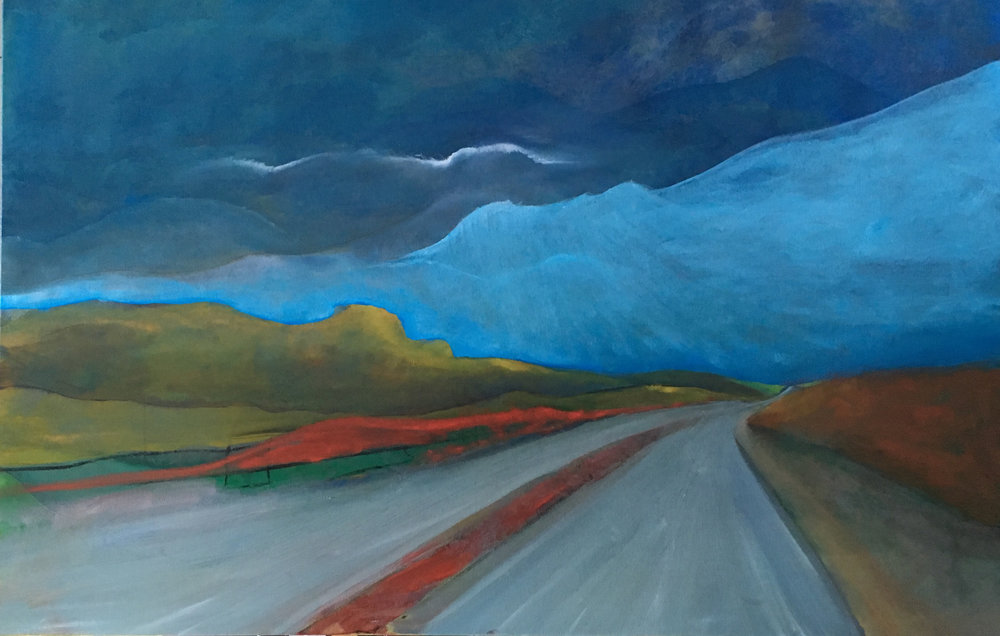 """Are We There Yet? by Carolee Jakes. Oil on Canvas. 30"""" x 48""""."""