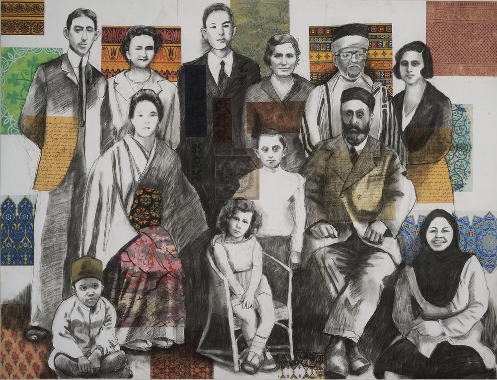 "One Family, Charcoal & collage on paper mounted on canvas, 52""x40"", 2018, $2,200.     Inquire"