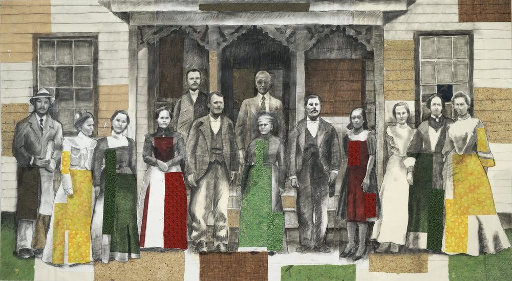 "A Blended Family   Charcoal, collage on paper  38"" x 67""  $1,800  Click Image to Enlarge   Inquire."