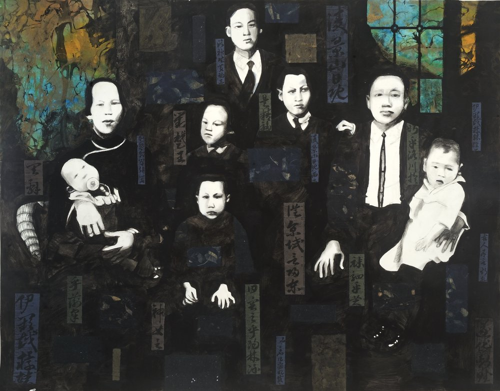 "Lee Family in Montreal   Charcoal & collage on paper  Calligraphy by Freda Lee-McCann  41"" x 50""  $1,800  Click Image to Enlarge   Inquire."
