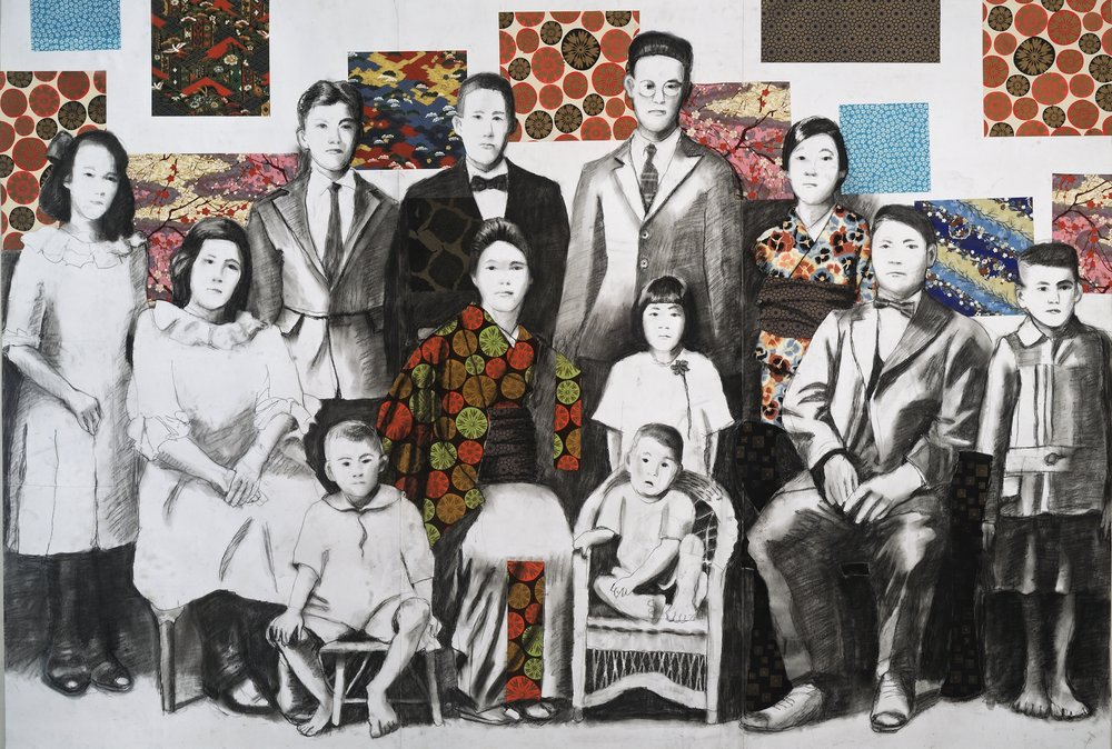 "Ishii Family in Hawaii   Charcoal & collage on paper mounted on canvas  40"" x 56""  Not for Sale  Click Image to Enlarge"