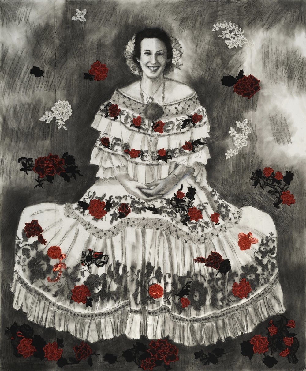 "Dress Like a Wedding Cake   Charcoal & embroidery on paper  42""  Sold  Click Image to Enlarge"