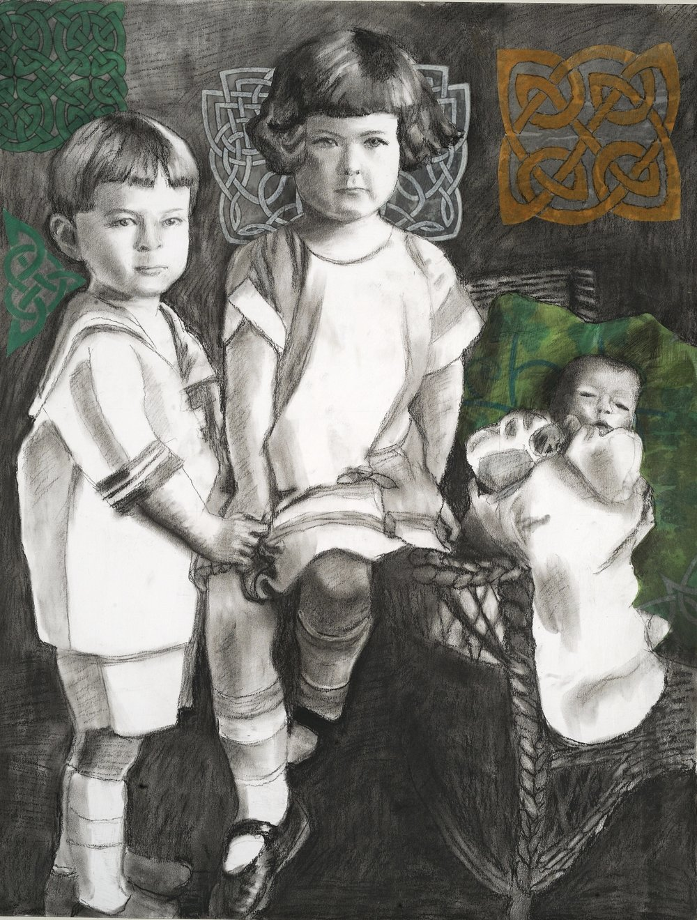 "The Christening Gown   Charcoal & collage on paper mounted on canvas  27.5"" x 20""  $1,000  Click Image to Enlarge   Inquire."