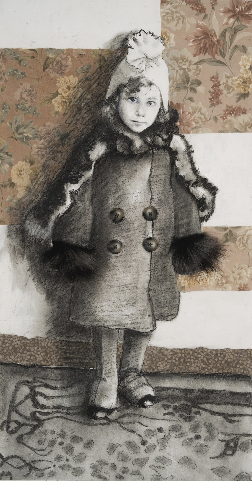 "Lucky Girl   Charcoal, fabric, buttons & collage on paper mounted on canvas  28"" x 14""  Not for Sale  Click Image to Enlarge"
