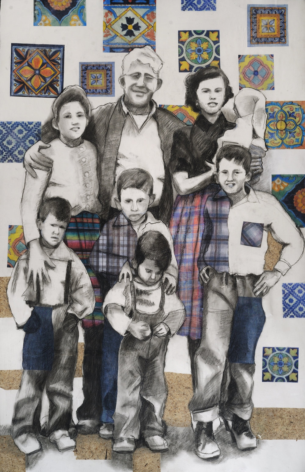 "Mexican Family   Charcoal & collage on paper mounted on canvas  41"" x 26""  SOLD"