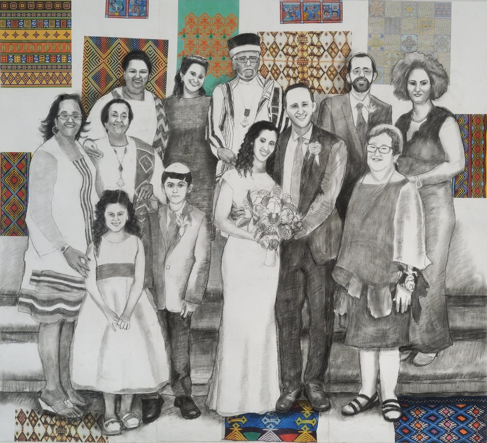 "Wedding Day   Charcoal & collage on paper mounted on canvas  42"" x 44""  $1,800  Click Image to Enlarge   Inquire ."