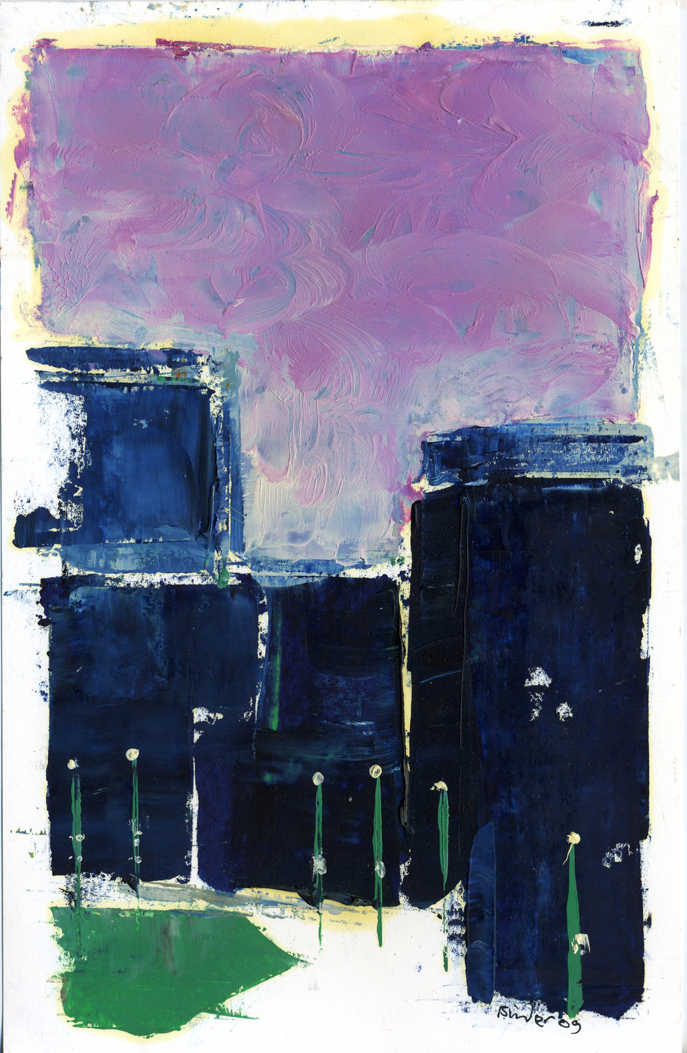 """Deep Blue and Violet (a cityscape)   Oil on paper  8-1/2"""" x 5-1/2""""  $385  Click image to enlarge   Inquire"""