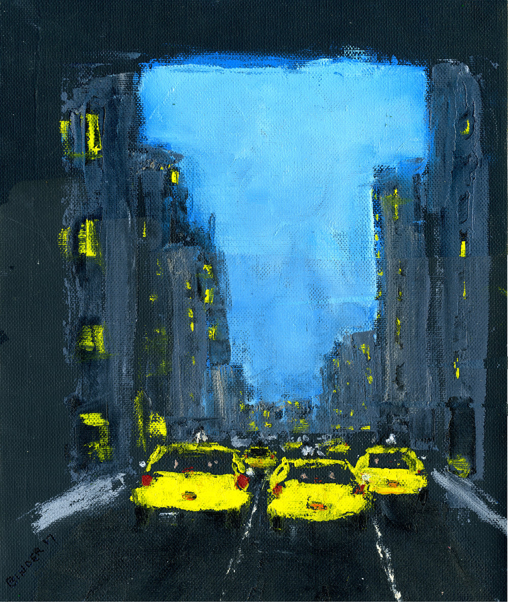 """7th Avenue (South) at 43rd Street   Hand-worked monotype in oil  1st edition  12"""" x 9""""  $385  Click image to enlarge   Inquire"""