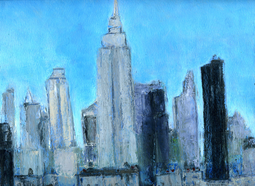 """Midtown Skyline (NYC)   Hand-worked monotype in oil  9"""" x 12""""  $385  Click image to enlarge   Inquire"""