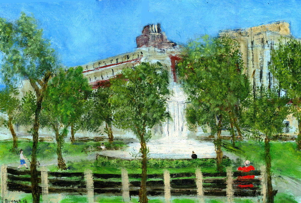 """Dupont Circle Early Sunday Morning   Oil on paper  12"""" x 18""""  $585  Click image to enlarge   Inquire"""