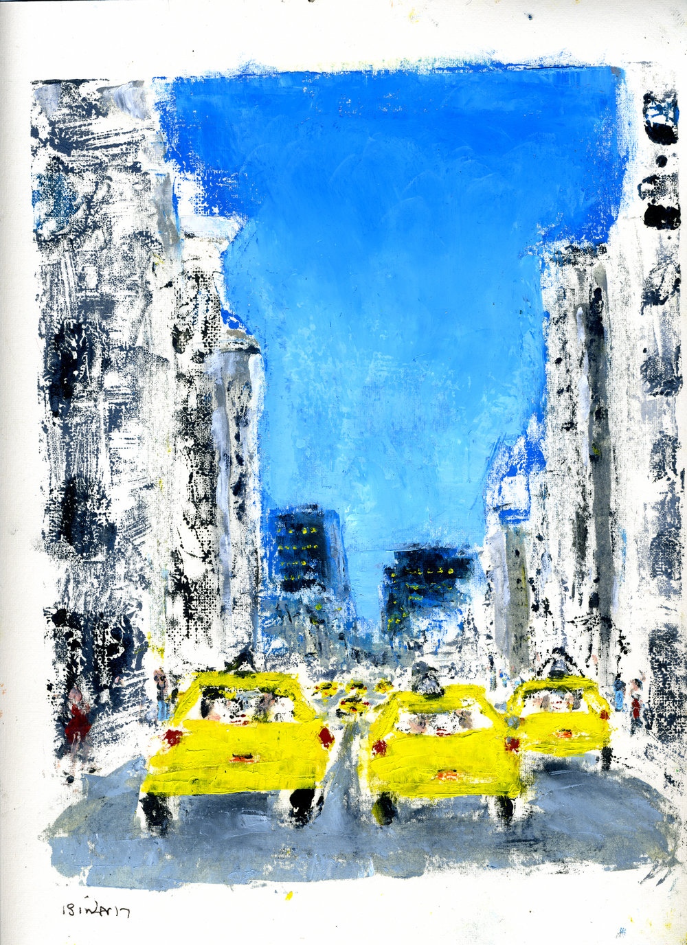 """7th Avenue (South) at 43rd Street   Hand-worked monotype in oil, 1st edition  12"""" x 9""""  $385  Click to Enlarge Image   Inquire."""