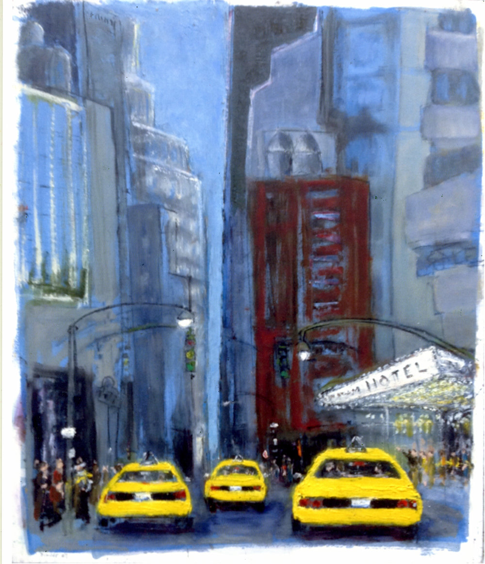 """Evening Bustle   Oil on wood panel  24"""" x 20"""" x 1/2""""  $885  Click to Enlarge Image   Inquire."""