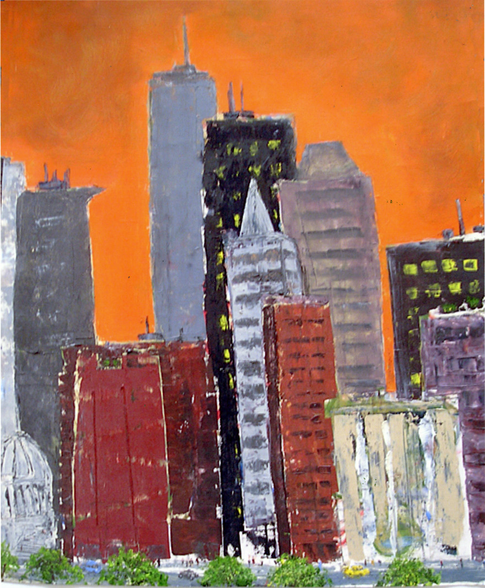 """Towers in the City (Orange Sky)   Oil on paper  26"""" x 20""""  $1035  Click to Enlarge Image   Inquire."""