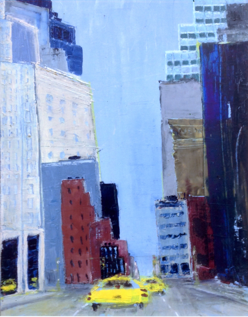 """Yellow Cabs on the Street   Oil on stretched canvas  24"""" x 18"""" x 3/4""""  $885  Click to Enlarge Image   Inquire."""