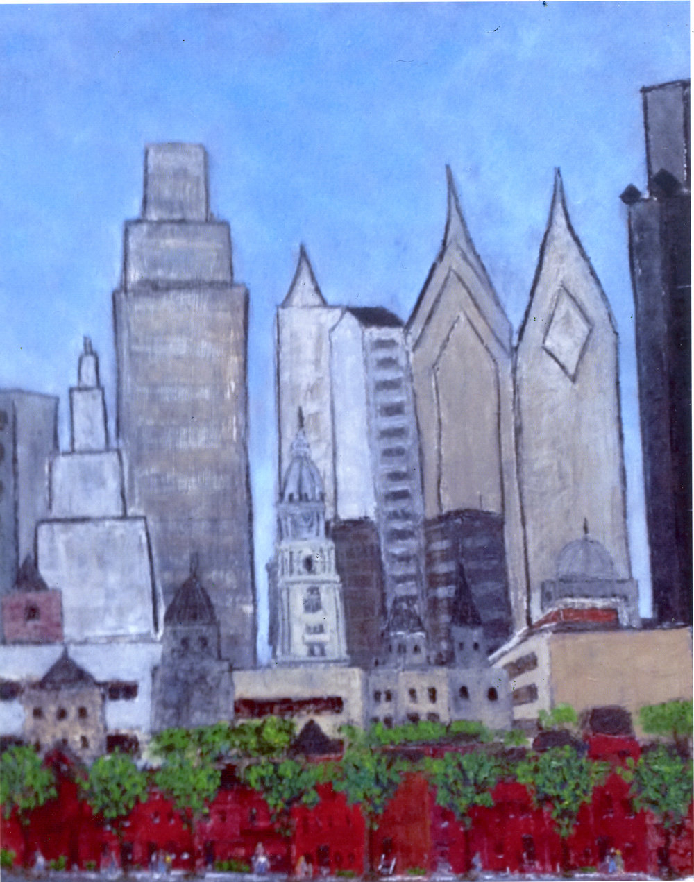 """Rise and Shine Philadelphia!   Oil on wood panel  24"""" x 20"""" x 1/2""""  $885  Click to Enlarge Image   Inquire."""