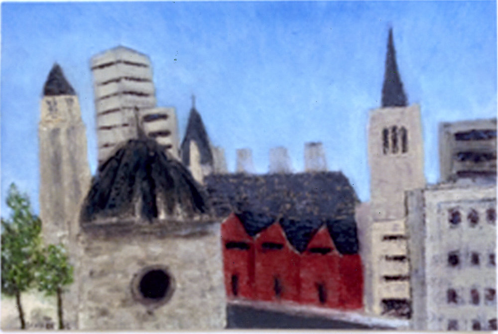 """Spires of Baltimore   Oil on paper  12"""" x 18""""  $585  Click to Enlarge Image   Inquire."""