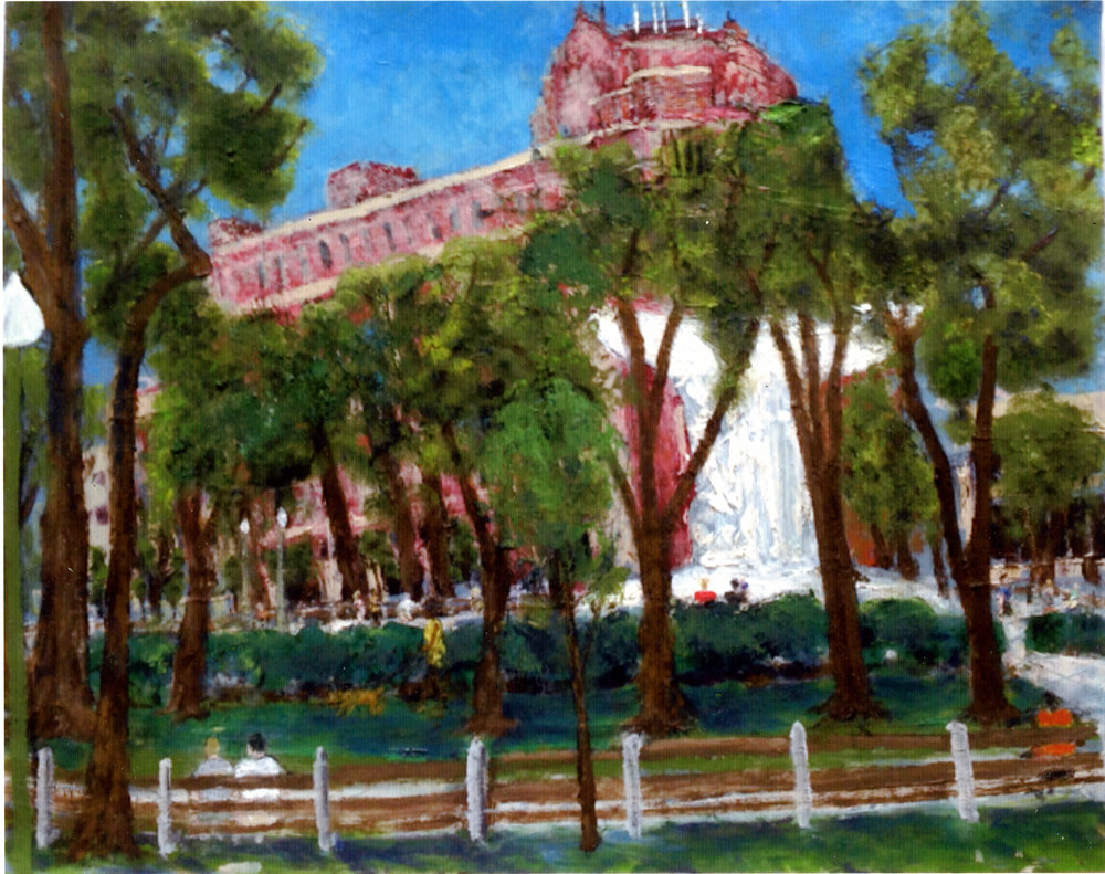 """Dupont Circle   Oil on paper  14-1/4"""" x 18""""  $585  Click to Enlarge Image   Inquire."""