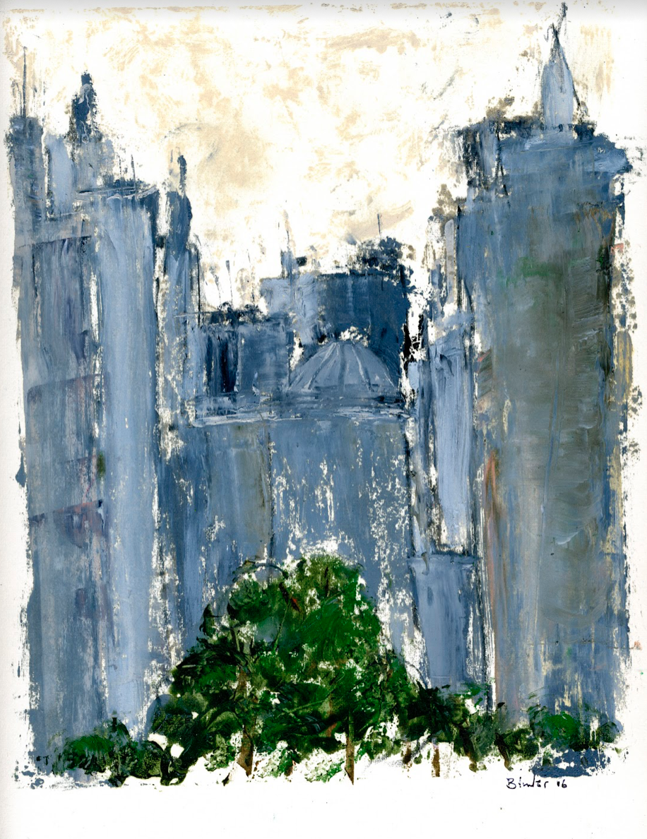 """Sao Paulo Skyline   Hand-worked monotype in oil  12"""" x 9""""  $385  Click to Enlarge Image  SOLD"""