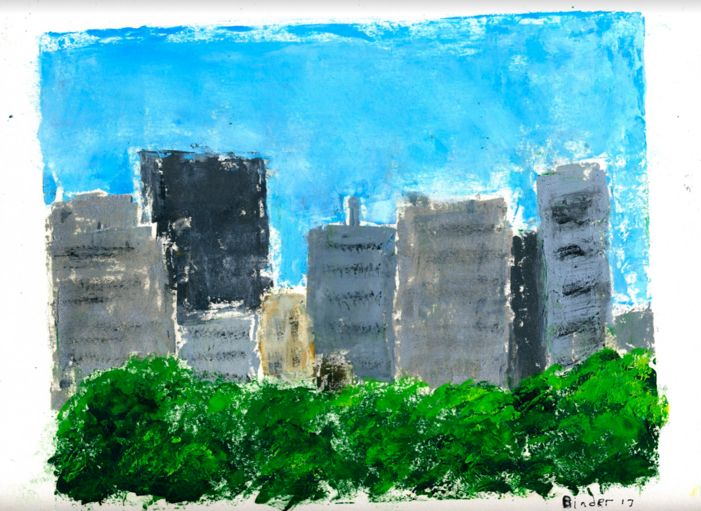 """Rosslyn Skyline   Monotype in oil on paper  9"""" x 12""""  $475  Click to Enlarge Image   Inquire"""