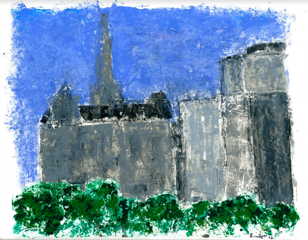 """Georgetown Spires (from Across the River)   Hand-worked monotype in oil (2nd edition)  9"""" x 12""""  $475  Click to Enlarge Image   Inquire"""
