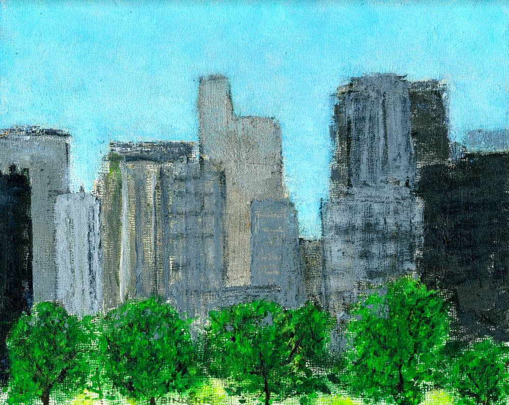 """Rosslyn Skyline   Oil on board  8"""" x 10""""  $385  Click to Enlarge Image   Inquire"""