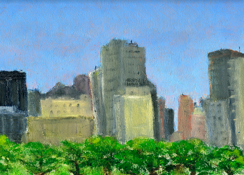 """Central Park South Skyline   Oil on panel  8"""" x 10""""  $385  Click to Enlarge Image   Inquire"""