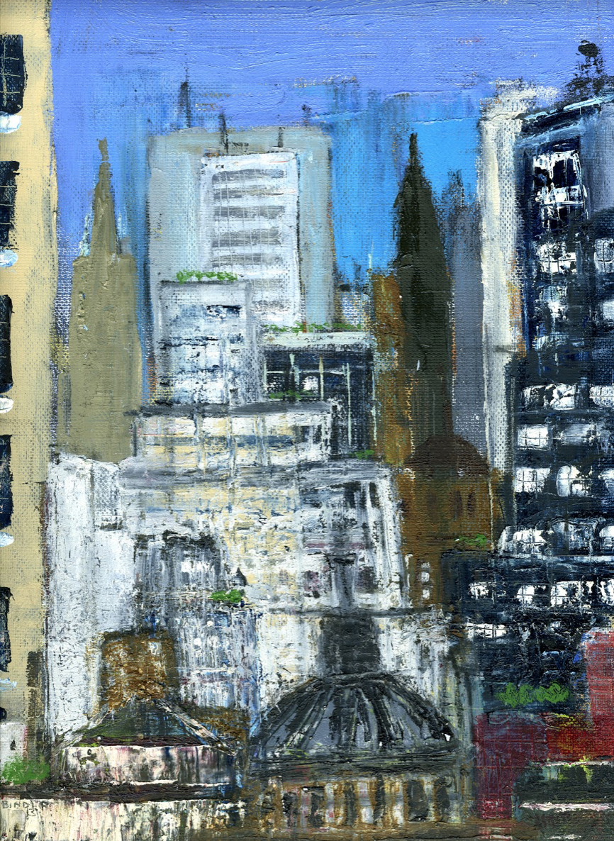 """Urban Image-Abstraction   Oil on canvas paper  12"""" x 9""""  $385  Click to Enlarge Image   Inquire"""