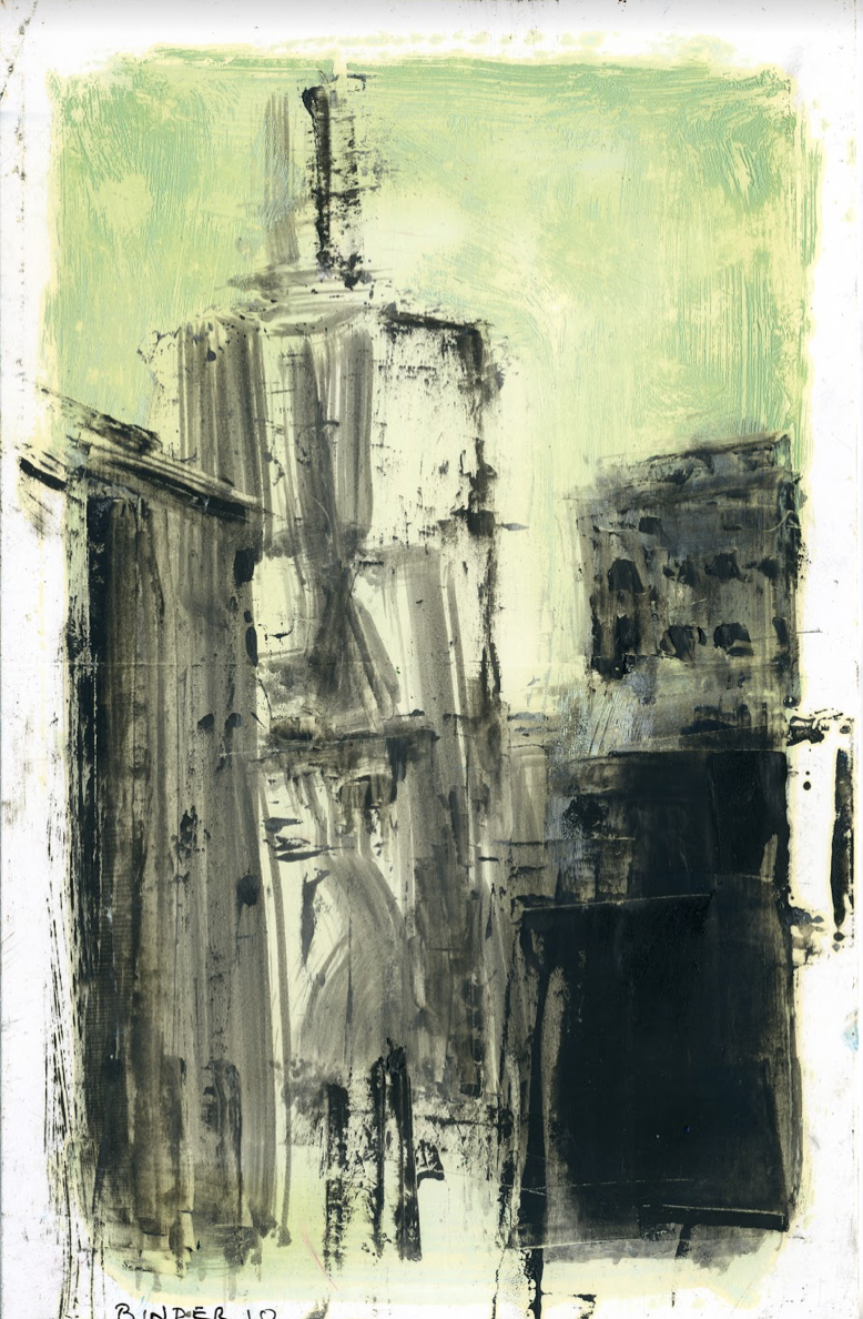 """Urban Landscape with Green Sky   Monotype in oil on paper  8-1/2"""" x 5-1/2""""  $435  Click to Enlarge Image   Inquire"""
