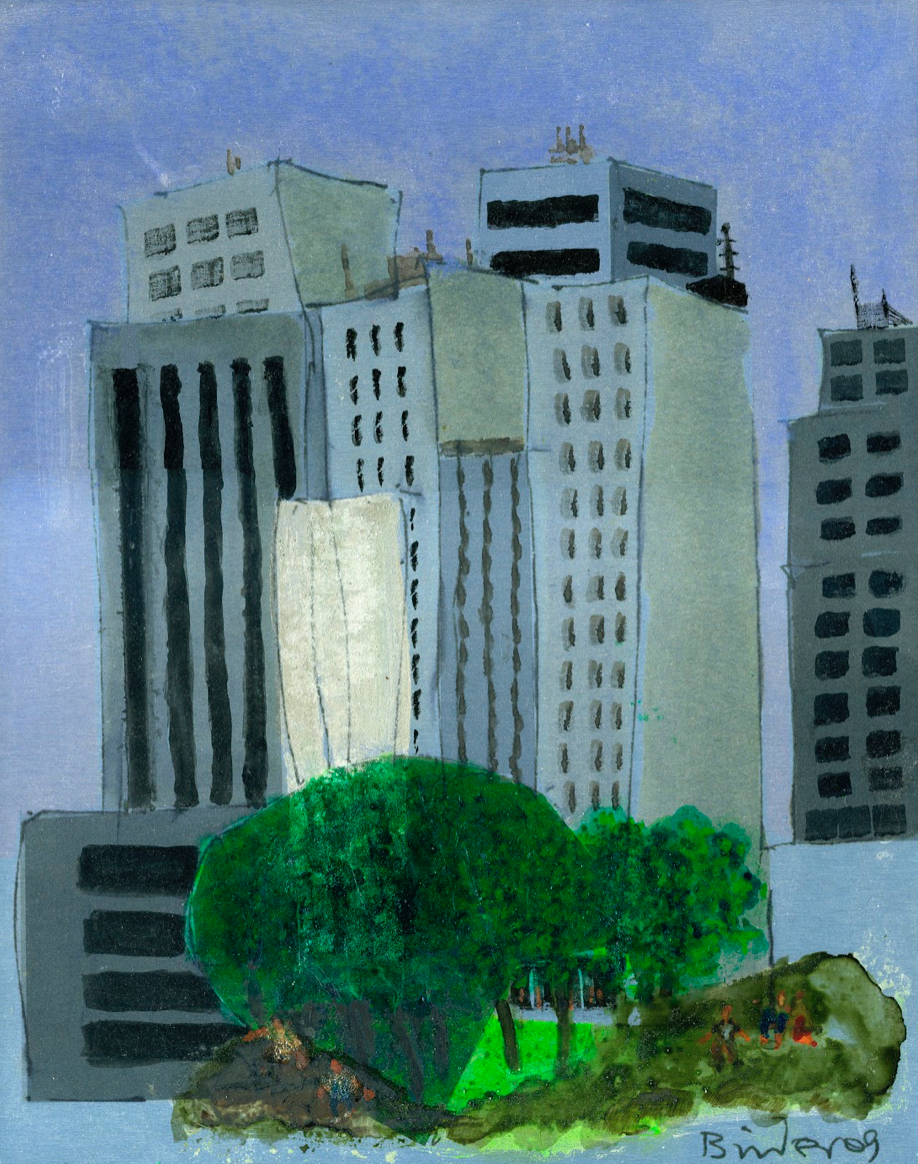 """New York City Skyline (from Central Park)   Oil paint on print, aluminum backing  11"""" x 14""""  $375  Click to Enlarge Image  SOLD"""