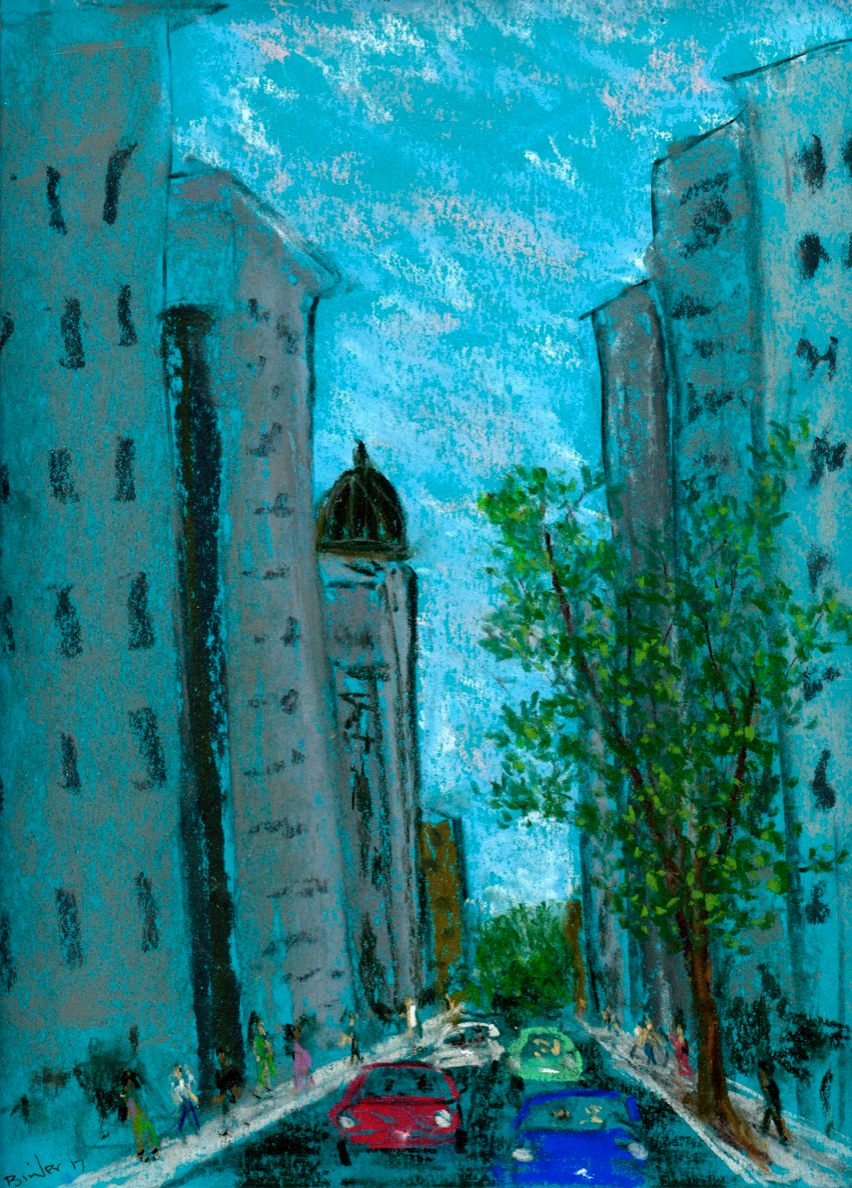 """Washington M Street   Chalk and pastel on blue-green paper  12"""" x 9""""  SOLD  Click to Enlarge Image"""