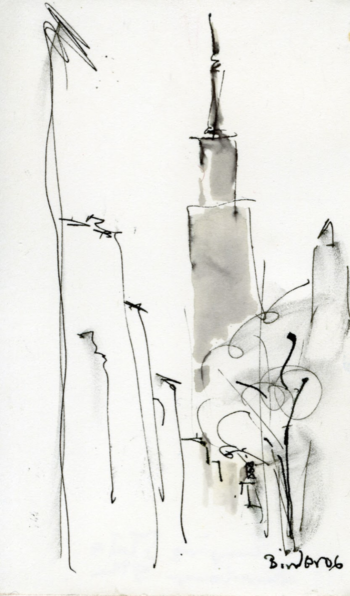 """Philadelphia Spires   Ink on paper  5"""" x 3""""  $285  Click to Enlarge Image   Inquire"""