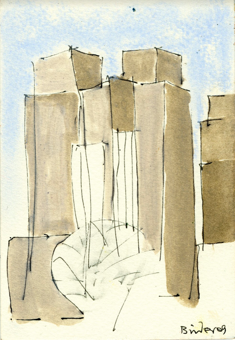"""New York City Skyline from Central Park   Ink with wash on paper  6"""" x 4""""  $285  Click to Enlarge Image   Inquire"""