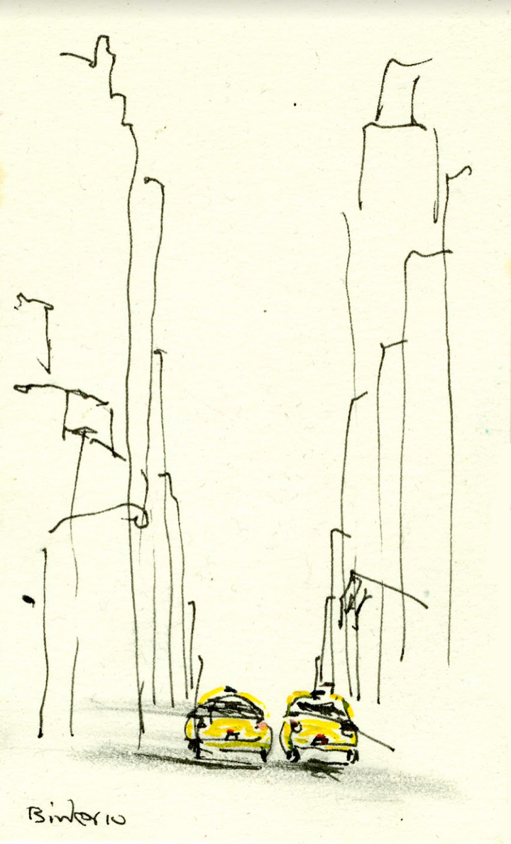 """38th and 8th (East)   Ink with wash on paper  5"""" x 3""""  $285  Click to Enlarge Image  No Longer Available"""