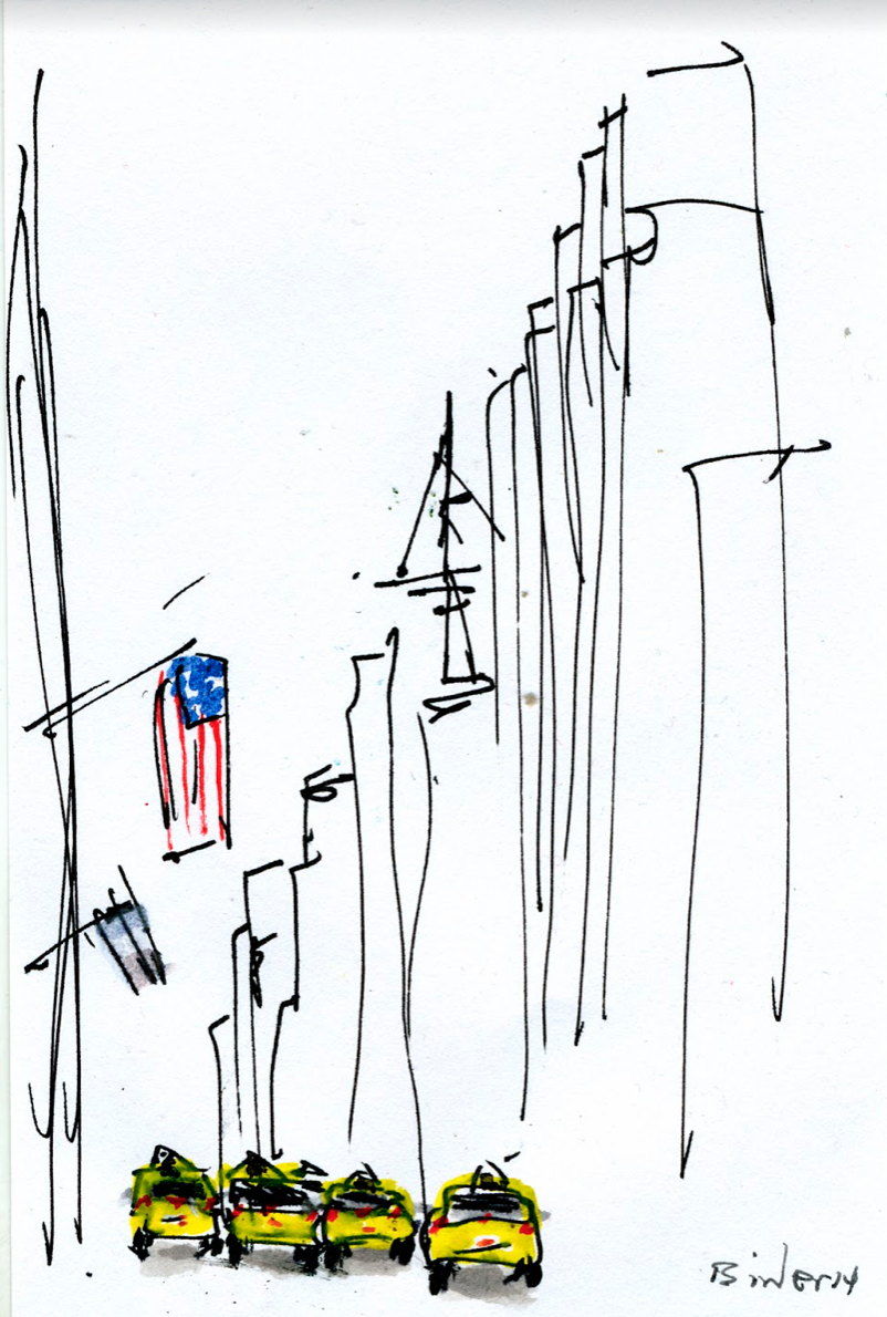 """5th and 52nd (North)   Ink with wash on paper  6"""" x 4""""  $295  Click to Enlarge Image   Inquire"""