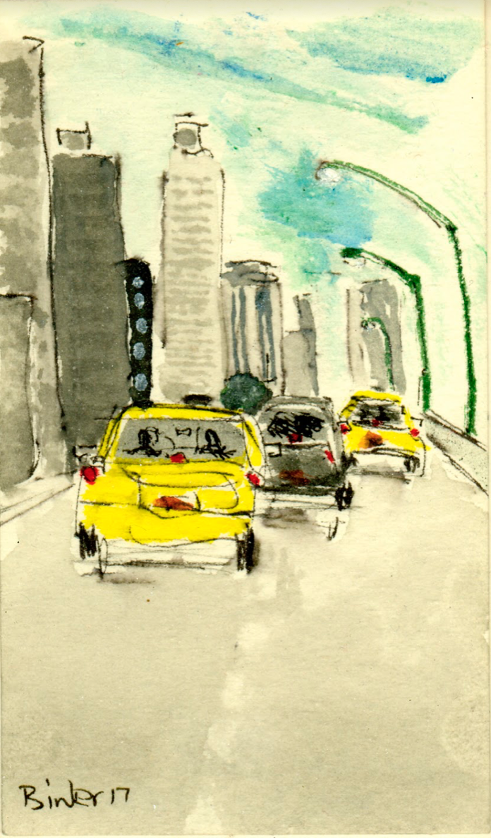 """West Side Highway and 56th   Ink with wash on paper  5"""" x 3""""  $285  Click to Enlarge Image   Inquire"""