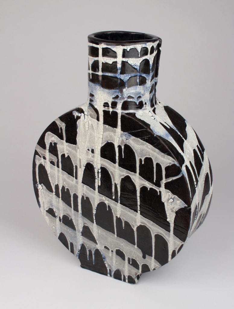 "Black & White Ceramic Vase . Stoneware and Glaze. 13"" x 9"". 2017"