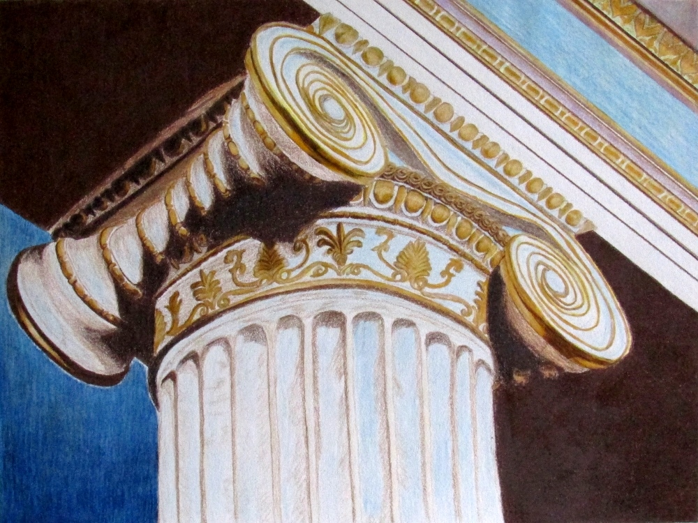 "Greek Column,  Pencil Colors on Paper. 11"" x 14"" (unframed). 2015."