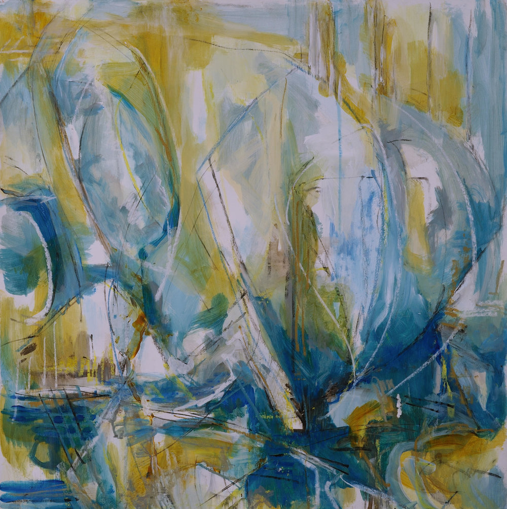 """Wind , Suzanne Yurdin. Mixed media on paper. 26"""" x 26"""". Featured in Water Works."""