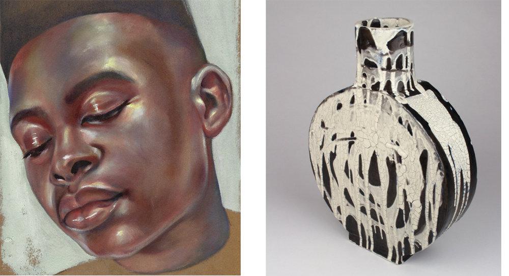 (Left) Glance , Nicole Ida Fossi. Oil on cardboard.  (Right) Ceramic Vase , J.S. Herbert.  Inquire.