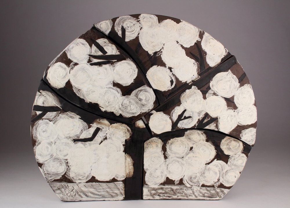 "Eve   Stoneware, slip, underglaze, and glaze  17"" x 20"" x 5 1/4""  $800  Click image to enlarge   Inquire."