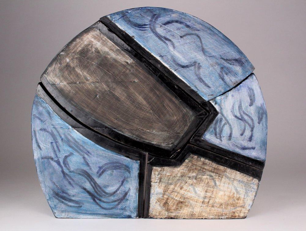 """Jonah   Stoneware, slip, wash, underglaze, and glaze  18 1/2"""" x 20 1/4"""" x 5 1/4""""  $800  Click image to enlarge   Inquire."""