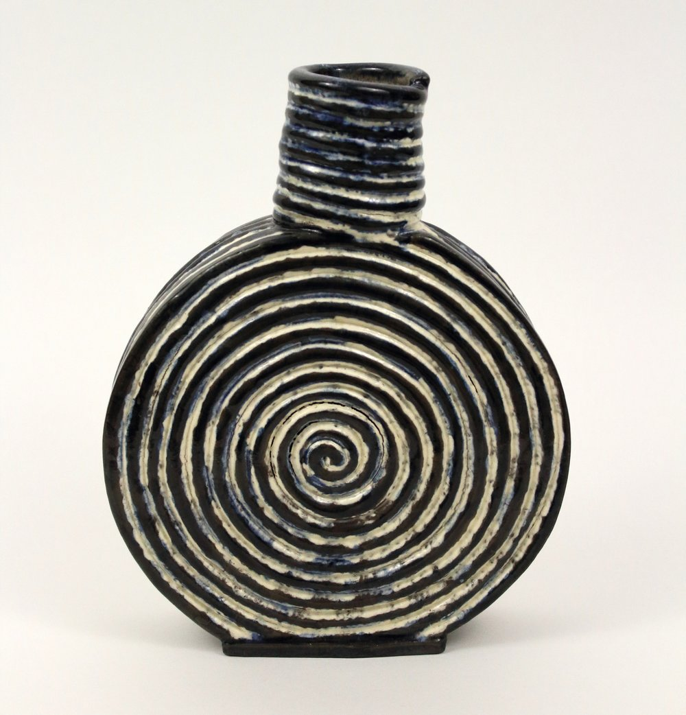 "Small Vase   Stoneware, slip, wash, and glaze  9"" x 7 1/2"" x 1 1/2""  $120  Click image to enlarge   Inquire."