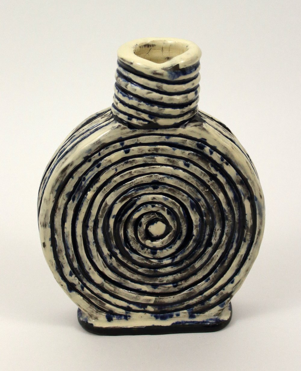 "Small Vase   Stoneware, slip, wash, and glaze  8"" x 6 1/2"" x 1 1/2""  $120  Click image to enlarge   Inquire."