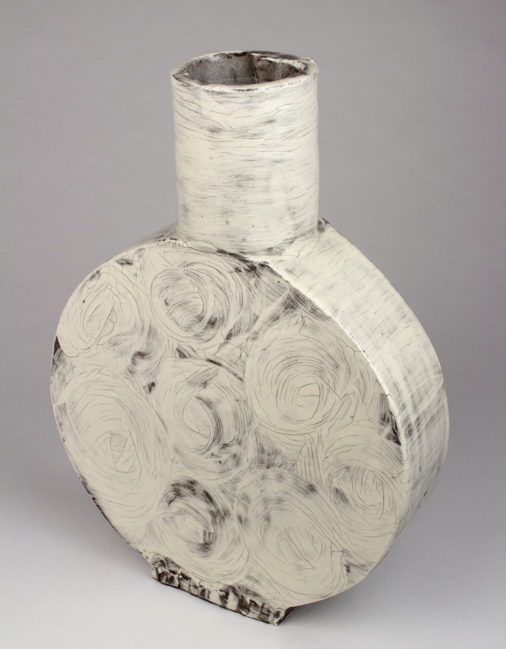 """White Floral Vase   Stoneware, slip and glaze  12 1/2"""" x 9 1/4"""" x 2 3/4""""  $400  Click image to enlarge   Inquire."""