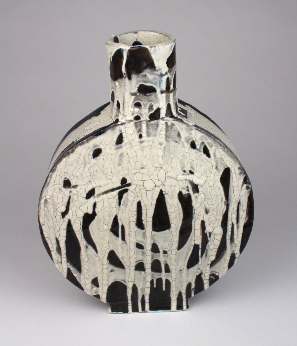 """Ceramic Vessel   Stoneware, slip, wash, and glaze  12 1/2"""" x 9 x 3  Not for Sale  Click image to enlarge"""
