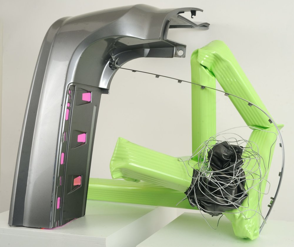 """Green 3   Leather, Zipper, Steel, Duct tape, Downspout, Auto Part, Vinyl, Wire  41.5"""" x 33"""" x 32""""  $3,800  Click to enlarge   Inquire."""