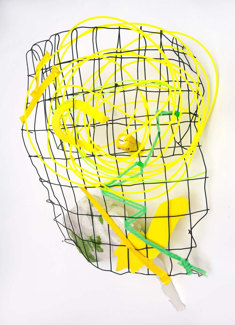 Yellow Vibe   Wire, weed whacker, tape, yarn, acrylic on paint throw, plastic rubber  $1,300  Click to enlarge   Inquire.