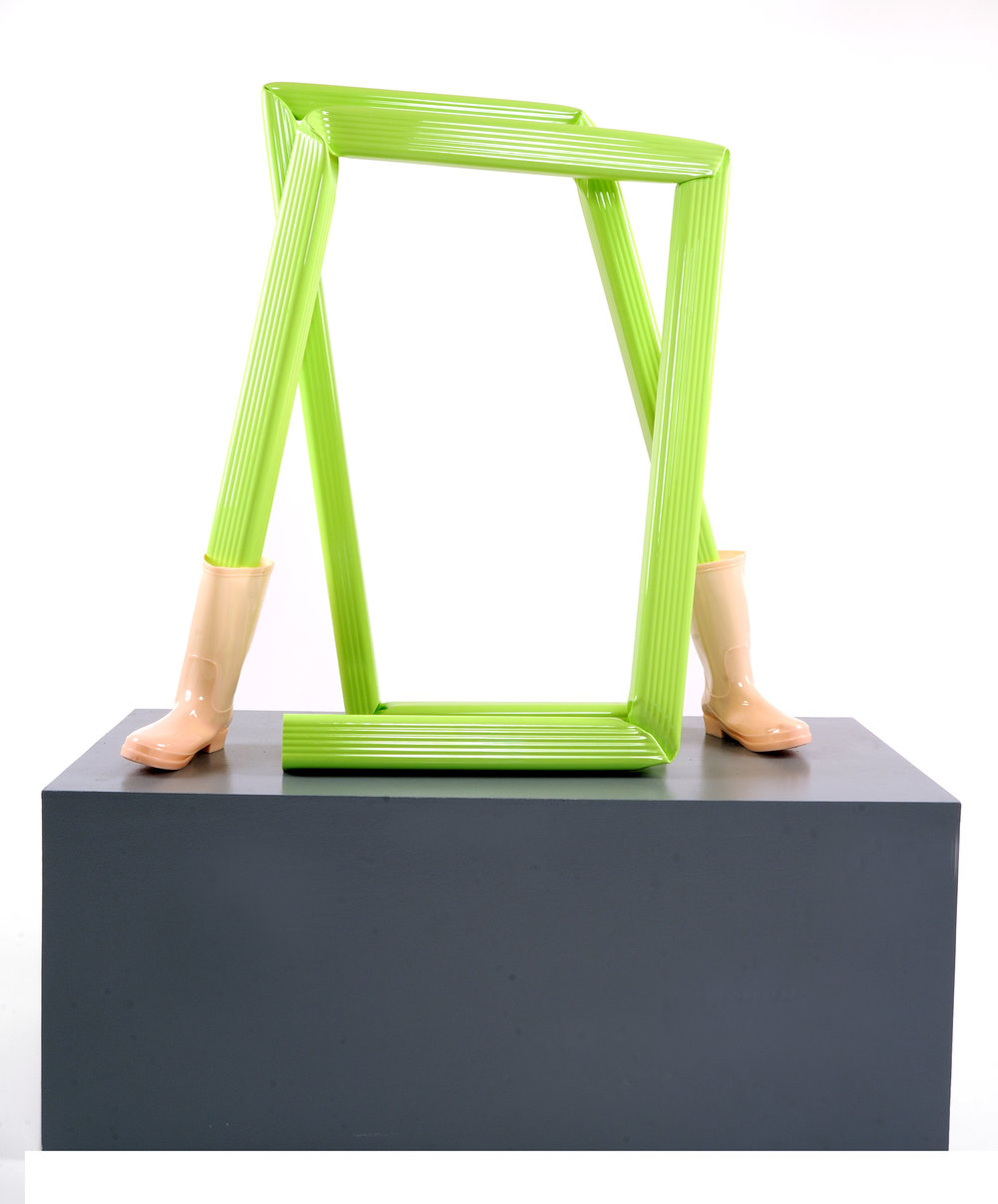 """Green 1   Downspout, Rubber Boots  40"""" x 39"""" x 17""""  $3,800  Click to enlarge   Inquire."""