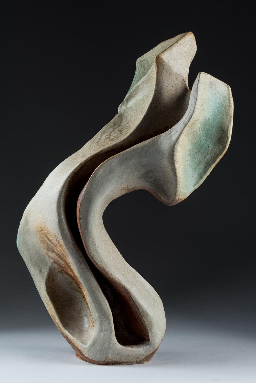 "Sanna , Ceramic. Handbuilt from stoneware clay, sprayed glaze, wood fired to cone 10 in Noborigama kiln. 30"" h x 15"" w x 11""d. 2018."