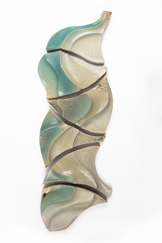 "Flow  (6-part wall piece).   Ceramic. Handbuilt from stoneware clay, sprayed glaze, wood fired to cone 10 in Noborigama kiln. 54"" h x 17"" w x 3.5"" d. 2018."